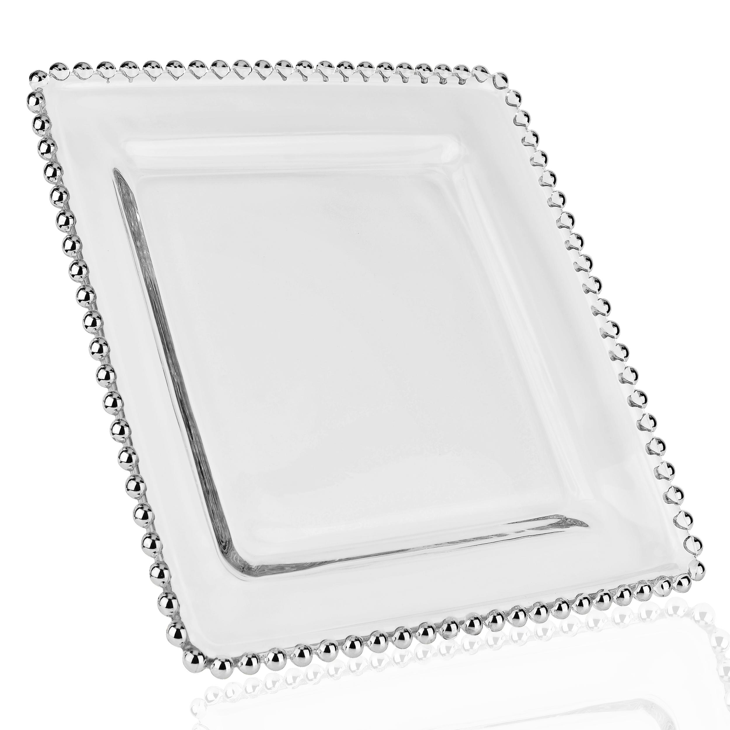 talerz przezroczysty kwadrat ze srebrnym