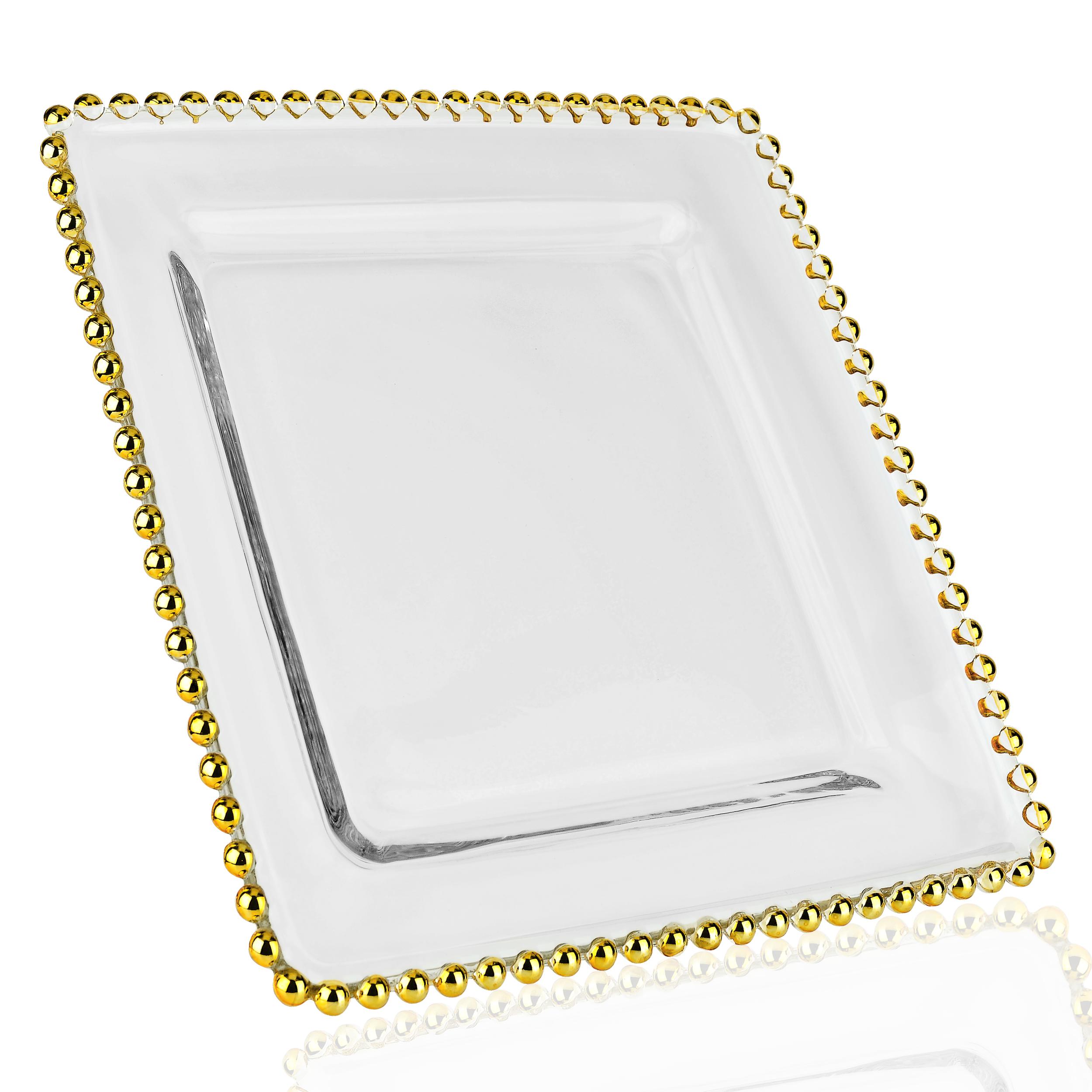 talerz przezroczysty kwadrat ze zlotem