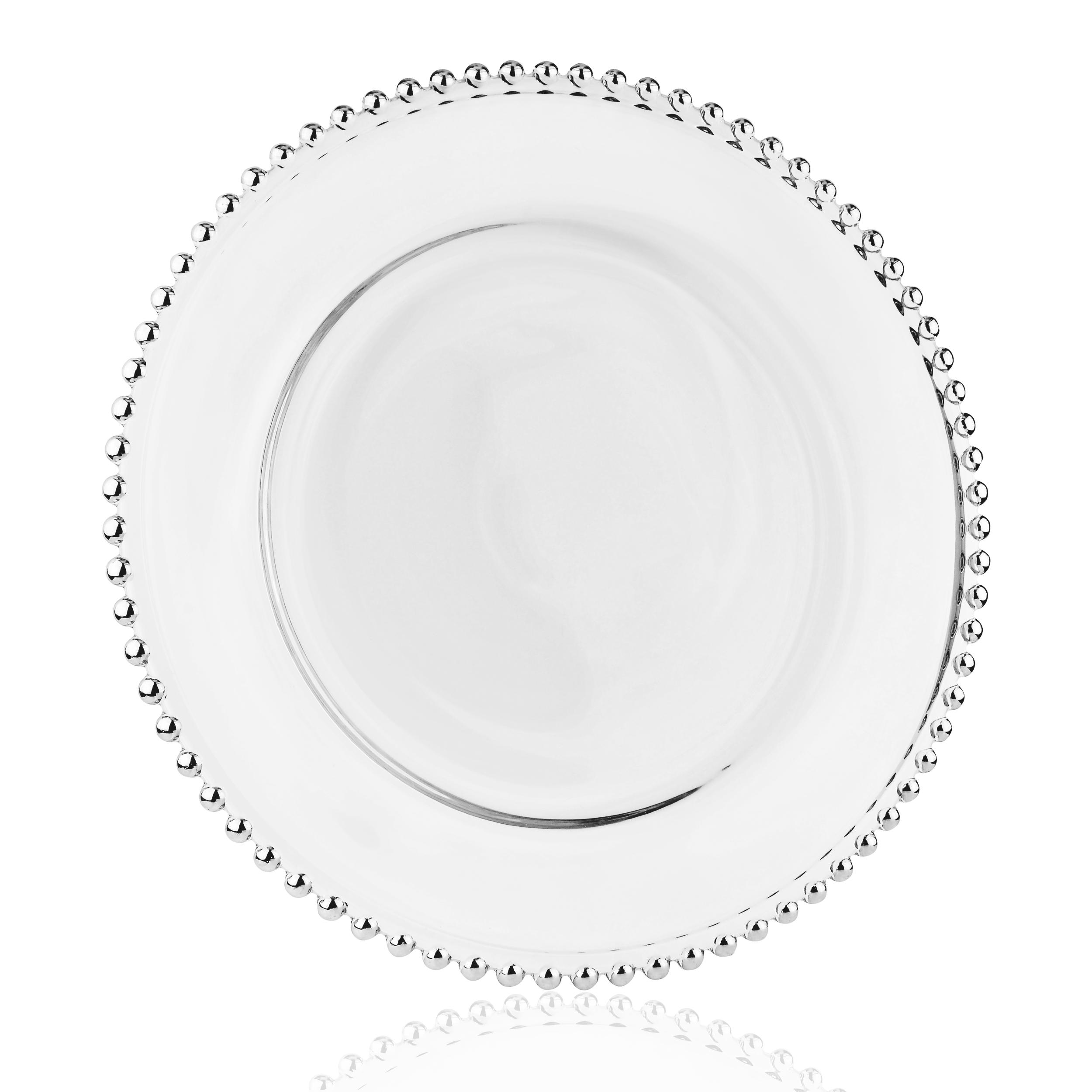 talerz przezroczysty ze srebrnym